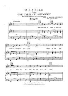 Barcarole: Versão para voz e piano by Jacques Offenbach