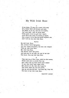 My Wild Irish Rose: em C maior by Chauncey Olcott