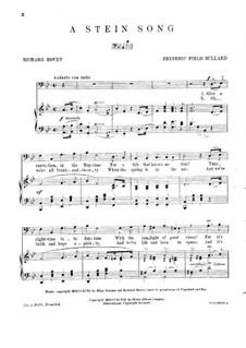 A Stein Song: A Stein Song by Frederick Field Bullard