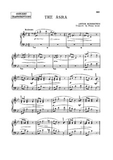 Transcription on 'The Asra' by A. Rubinstein, S.554: Transcription on 'The Asra' by A. Rubinstein by Franz Liszt