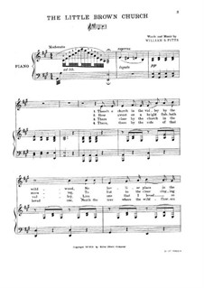The Little Brown Church: para vozes e piano by William S. Pitts