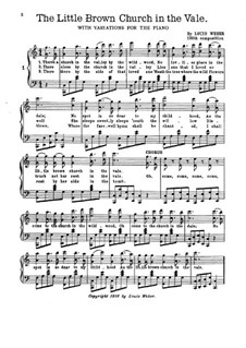 The Little Brown Church: With variations for piano by William S. Pitts