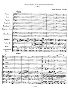 Concerto for Piano and Orchestra No.26 in D Major 'Coronation', K.537: Partitura completa by Wolfgang Amadeus Mozart