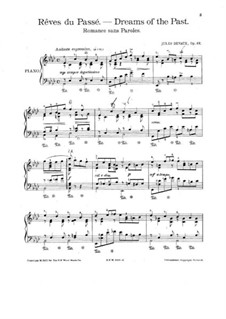 Dreams of the Past. Romance without Words for Piano, Op.22: Dreams of the Past. Romance without Words for Piano by Jules Devaux