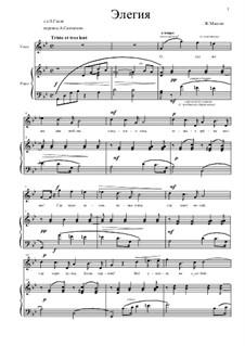 Dix pièces de genre, Op.10: No.5 Mélodie (Élégie), for voice and piano by Jules Massenet