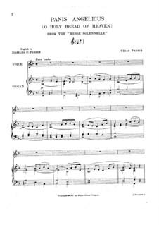 Panis Angelicus (O Lord Most Holy): para voz e orgão by César Franck