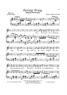 Songs without Words, Op.62: No.6 Spring Song, for voice and piano by Felix Mendelssohn-Bartholdy