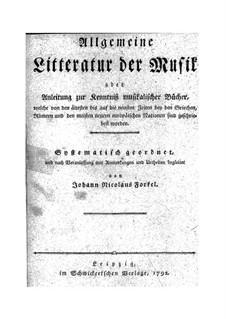 General Literature of Music: livro I by Johann Nikolaus Forkel