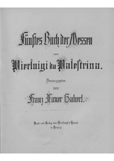 Masses: livro V by Giovanni da Palestrina