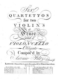 Six String Quartets: quarteto de seis cordas by Antonio Filtz