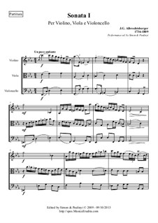Trio Sonata for Violin, Viola and Cello (or Bassoon) No.1 in C Minor: Performance edition, full score and parts by Johann Georg Albrechtsberger