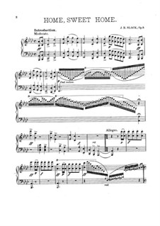 Home, Sweet Home, Op.3: Transcription for piano by J. H. Slack