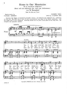 Si, la stanchezza m'opprime (Home to Our Mountains): Para vocais e piano by Giuseppe Verdi