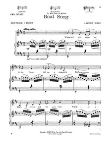 Boat Song for Low Voice and Piano: Boat Song for Low Voice and Piano by Harriet Ware