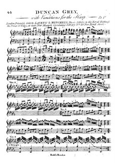 Variations for the Harp 'Duncan Grey': Variations for the Harp 'Duncan Grey' by Thomas Budd