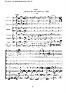Concerto for Flute, Harp and Orchestra in C Major, K.299: Partitura completa by Wolfgang Amadeus Mozart