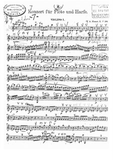 Concerto for Flute, Harp and Orchestra in C Major, K.299: violino parte I by Wolfgang Amadeus Mozart