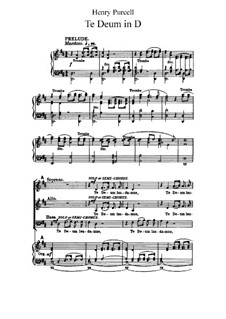 Te Deum and Jubilate Deo, Z.232: Partitura piano-vocal by Henry Purcell
