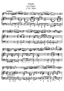 Sonata for Flute and Harpsichord in G Major, H 550 Wq 123: partitura, parte solo by Carl Philipp Emanuel Bach