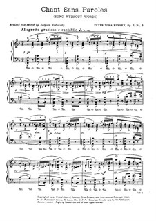 Souvenir de Hapsal, TH 125 Op.2: No.3 Song without Words by Pyotr Tchaikovsky