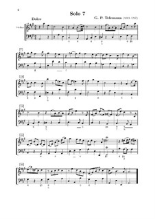 Solo No.7, TWV 41:A 6: For violin and basso continuo by Georg Philipp Telemann