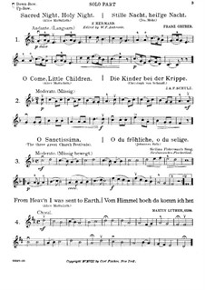 Christmas Songs, for Violin and Piano: Christmas Songs, for Violin and Piano by folklore, Adolphe Adam, Franz Xaver Gruber, Johann Abraham Schulz, Martin Luther, Carl Gottlieb Hering