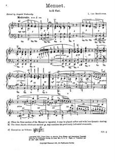 Minuet in E Flat Major, WoO 82: para piano (com dedilhado) by Ludwig van Beethoven