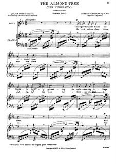No.3 Der Nussbaum (Le noyer): piano-vocal partitura (texto em alemão e inglês) by Robert Schumann