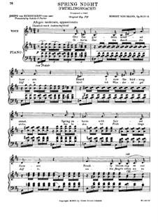 No.12 Frühlingsnacht (Spring Night): Piano-vocal score (D Major) by Robert Schumann