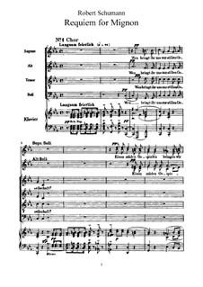 Requiem for Mignon, Op.98b: Partitura piano-vocal by Robert Schumann