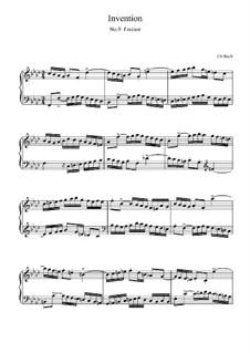 No.9 in F Minor, BWV 780: para teclado (partituras de alta qualidade) by Johann Sebastian Bach