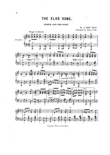 The Elks Home, for Piano: The Elks Home, for Piano by J. Fred Maas