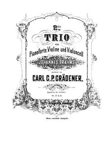 Piano Trio No.2, Op.35: trio de piano No 2 by Carl Georg Peter Grädener