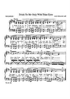 Drink to Me Only With Thine Eyes: Para vocais e piano by Unknown (works before 1850)