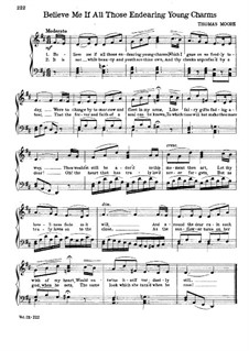 Believe Me, if All Those Endearing Young Charms: Partitura Piano-vocal by folklore