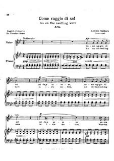 Come raggio di sol: Partitura Piano-vocal by Antonio Caldara