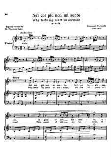 Nel cor più non mi sento, R 1.76: Partitura Piano-vocal by Giovanni Paisiello