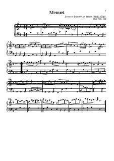 No.3 Minuet in F Major, BWV Anh.113: para teclado by Johann Sebastian Bach