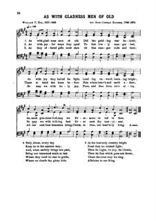 As with Gladness Men of Old: para vozes e piano by Conrad Kocher