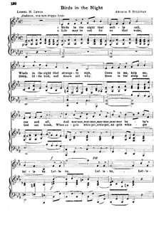 Birds in the Night (Lullaby): Partitura Piano-vocal by Arthur Seymour Sullivan