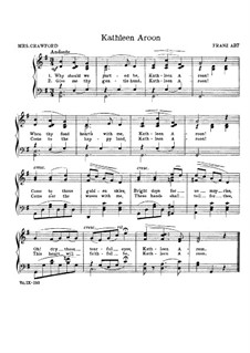 Kathleen Aroon: Partitura Piano-vocal by Franz Wilhelm Abt