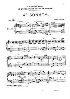 Piano Sonata No.4, Op.72: para um único musico (Editado por H. Bulow) by Isaac Albéniz