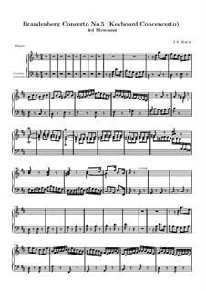Brandenburg Concerto No.5 in D Major, BWV 1050: Movement III – harpsichord part by Johann Sebastian Bach