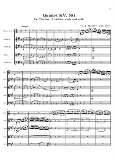 Quintet for Clarinet and Strings in A Major, K.581: Partitura completa by Wolfgang Amadeus Mozart