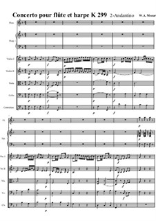Concerto for Flute, Harp and Orchestra in C Major, K.299: Movimento II. Partitura completa by Wolfgang Amadeus Mozart