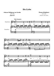 Die Liebe (Love), D.210: Partitura piano-vocal by Franz Schubert