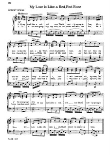 My Love is Like a Red, Red Rose: For voice and piano (C Major) by folklore