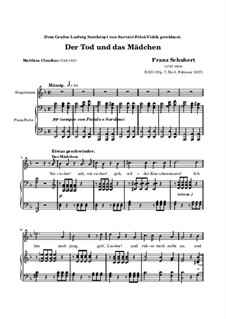 Death and the Maiden, D.531 Op.7 No.3: Piano-vocal score (high quality sheet music) by Franz Schubert
