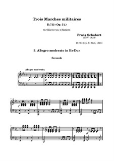 Three Marches Militaires for Piano Four Hands, D.733 Op.51: March No.3 by Franz Schubert