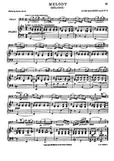 Dix pièces de genre, Op.10: No.5 Mélodie (Élégie), for cello and piano by Jules Massenet
